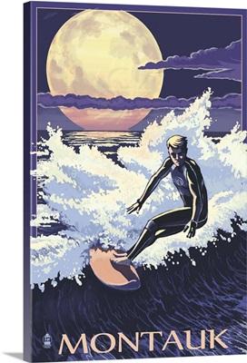 Montauk, New York - Night Surfer: Retro Travel Poster