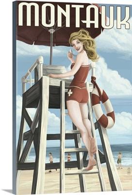 Montauk, New York - Pinup Girl Lifeguard: Retro Travel Poster