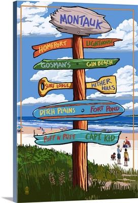Montauk, New York - Sign Destinations: Retro Travel Poster