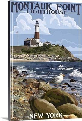 Montauk Point Lighthouse - New York: Retro Travel Poster