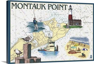 Montauk Point - Nautical Chart: Retro Travel Poster