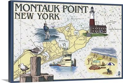 Montauk Point, New York - Nautical Chart: Retro Travel Poster
