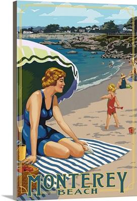 Monterey, California - Beach Scene: Retro Travel Poster