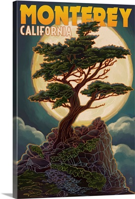 Monterey, California - Cypress and Full Moon: Retro Travel Poster