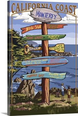 Monterey, California - Destination Sign: Retro Travel Poster
