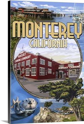 Monterey, California - Montage Scenes: Retro Travel Poster