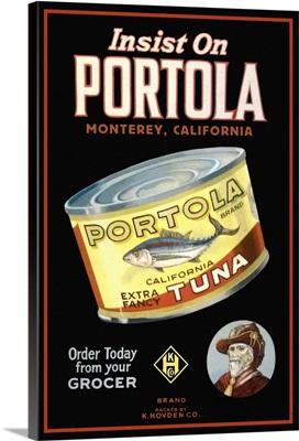 Monterey, California - Portola Cannery Label: Retro Travel Poster