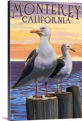 Monterey, California - Sea Gulls: Retro Travel Poster