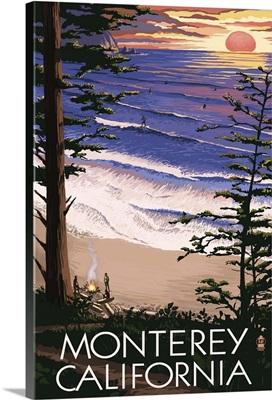 Monterey, California - Sunset and Beach: Retro Travel Poster