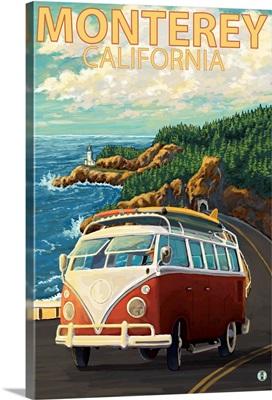 Monterey, California - VW Van: Retro Travel Poster