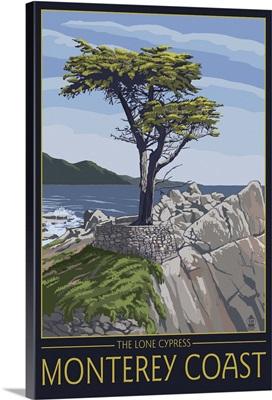 Monterey Coast, CA - Cypress Tree: Retro Travel Poster