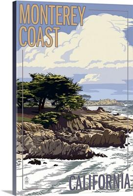 Monterey Coast, CA View of Cypress Trees: Retro Travel Poster