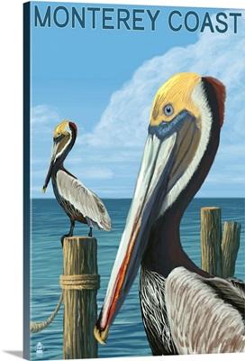Monterey Coast, California - Pelicans: Retro Travel Poster