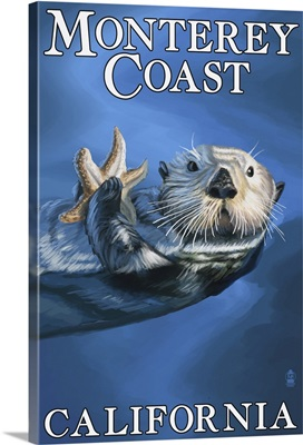 Monterey Coast, California - Sea Otter: Retro Travel Poster