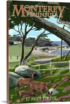 Monterey Peninsula, California - 17 Mile Drive: Retro Travel Poster