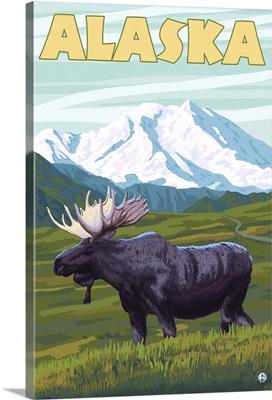 Moose and Mountain - Alaska: Retro Travel Poster