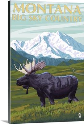 Moose and Mountain - Montana Big Sky Country: Retro Travel Poster