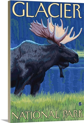 Moose at Night - Glacier National Park, Montana: Retro Travel Poster