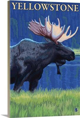 Moose at Night - Yellowstone National Park: Retro Travel Poster
