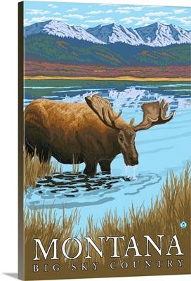 Moose Drinking at Lake - Montana: Retro Travel Poster