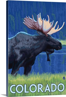 Moose in Moonlight - Colorado: Retro Travel Poster
