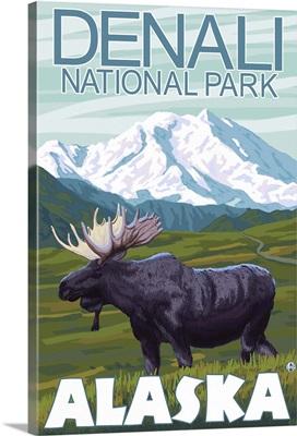 Moose Scene - Denali National Park, Alaska: Retro Travel Poster