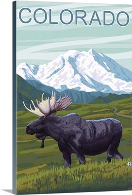 Moose with Mountain - Colorado: Retro Travel Poster