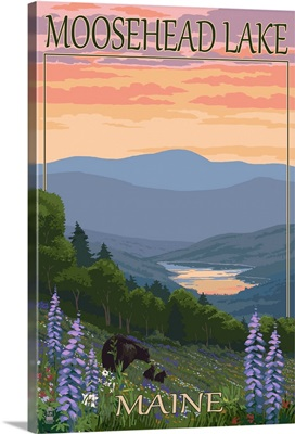 Moosehead Lake, Maine - Bears and Spring Flowers: Retro Travel Poster