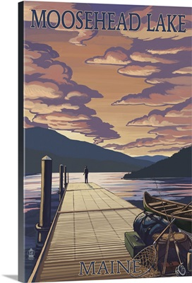 Moosehead Lake, Maine - Dock and Sunset Scene: Retro Travel Poster