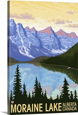 Moraine Lake, Alberta, Canada: Retro Travel Poster