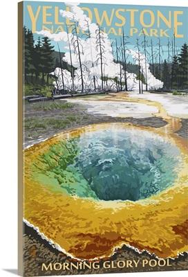 Morning Glory Pool - Yellowstone National Park: Retro Travel Poster