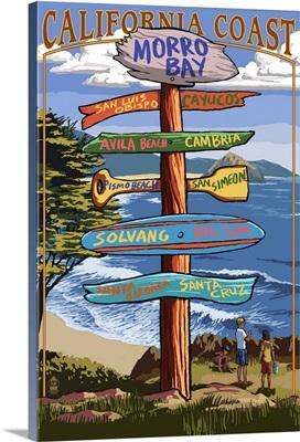Morro Bay, CA - Destination Signs Retro Travel Poster