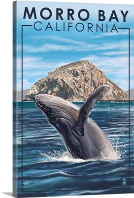 Morro Bay, CA - Humpback Whale: Retro Travel Poster
