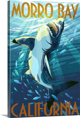 Morro Bay, California - Stylized Sharks: Retro Travel Poster