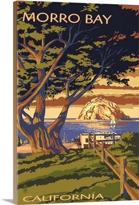 Morro Bay, California Town View with Morro Rock: Retro Travel Poster