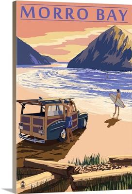 Morro Bay, California - Woody on Beach: Retro Travel Poster