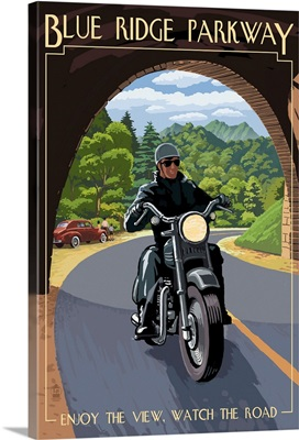 Motorcycle and Tunnel - Blue Ridge Parkway: Retro Travel Poster