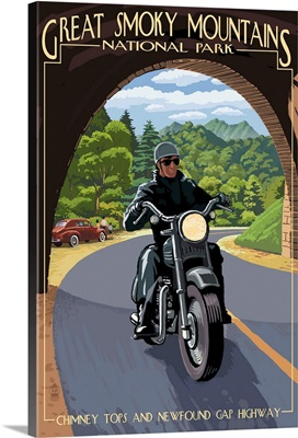 Motorcycle and Tunnel - Great Smoky Mountains National Park, TN: Retro Travel Poster