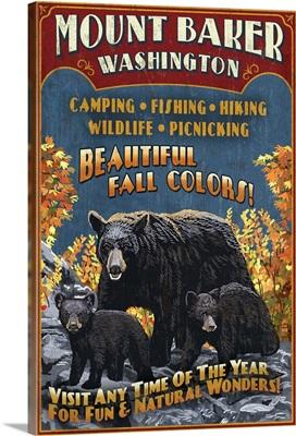 Mount Baker, Washington - Black Bears Vintage Sign: Retro Travel Poster