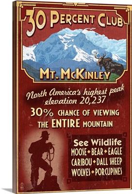 Mount McKinley, Alaska - 30 Club Vintage Sign: Retro Travel Poster