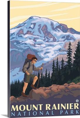 Mount Rainier - Hiker: Retro Travel Poster