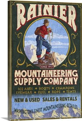 Mount Rainier - Mountaineering Supply Company: Retro Travel Poster