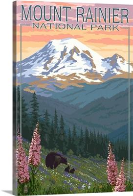 Mount Rainier National Park - Bear Family and Spring Flowers: Retro Travel Poster