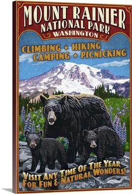 Mount Rainier National Park, Bear Family Vintage Sign