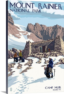Mount Rainier National Park - Camp Muir and Climbers: Retro Travel Poster