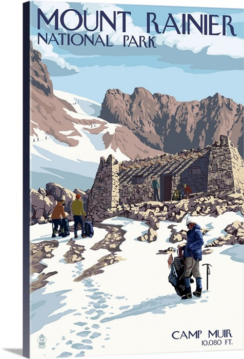 National Park Mount Rainier travel print