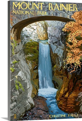 Mount Rainier National Park - Christine Falls: Retro Travel Poster