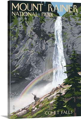 Mount Rainier National Park - Comet Falls and Elk: Retro Travel Poster
