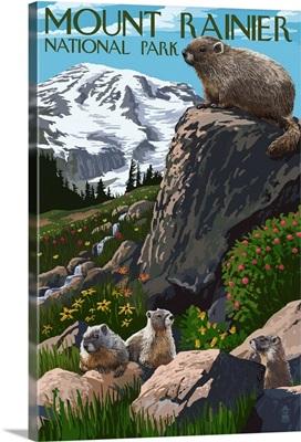 Mount Rainier National Park - Marmots: Retro Travel Poster