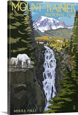 Mount Rainier National Park - Myrtle Falls and Mountain Goats: Retro Travel Poster